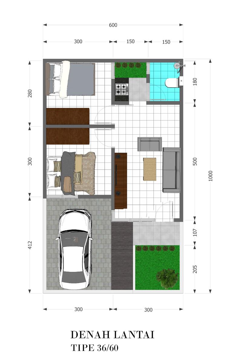 4 Denah 3d Tipe 36 60 Jasa Desain Rumah